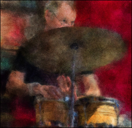 """Cymbal Driver. Bent Clausen: percussion at <a href=""""http://www.jazzklubben.dk/jazzcup.asp""""target=""""_blank"""">Jazz Cup<a/>, Copenhagen. Photo painted with digital impressionist chalk brush in Corel Painter + texture layers."""