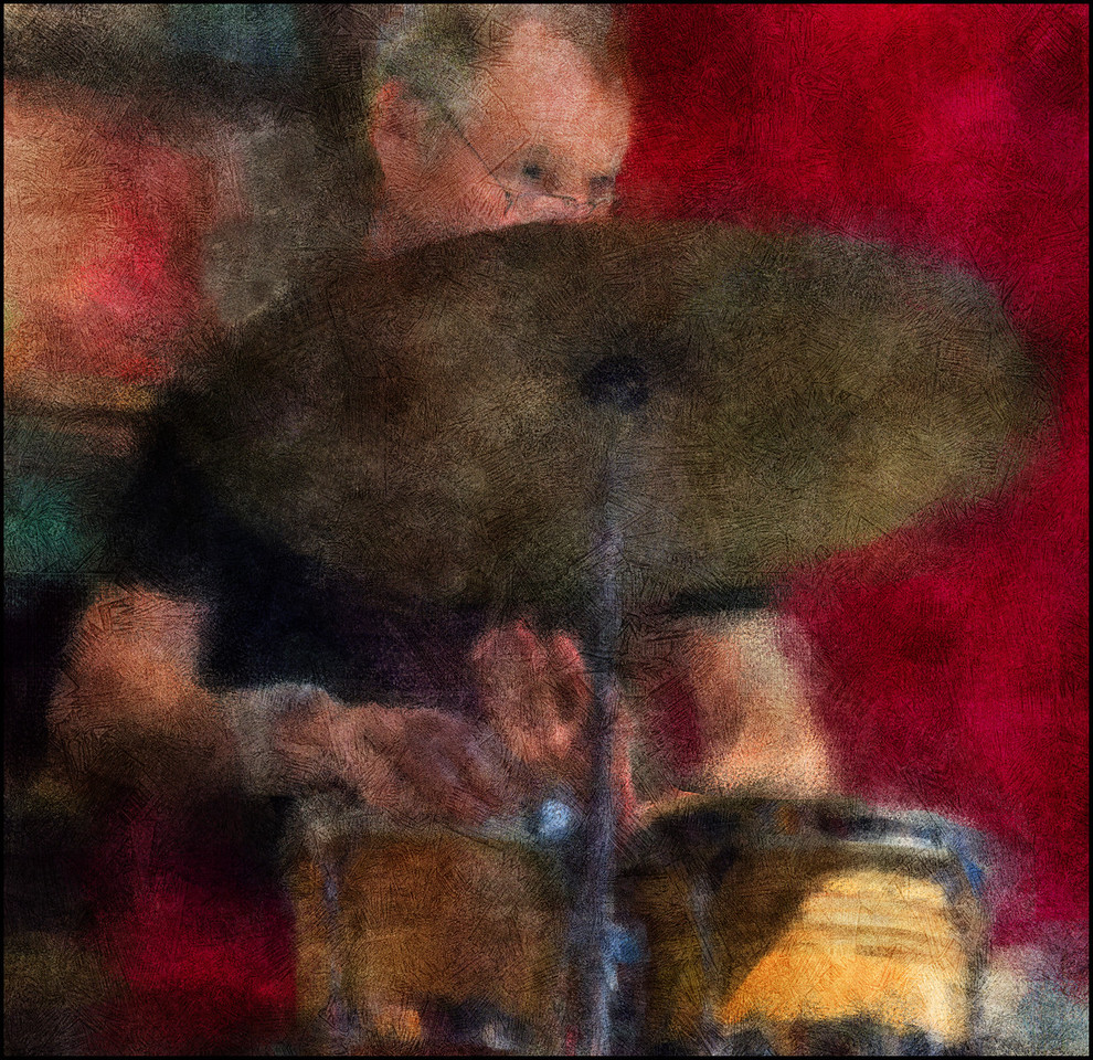 "Cymbal Driver. Bent Clausen: percussion at <a href=""http://www.jazzklubben.dk/jazzcup.asp""target=""_blank"">Jazz Cup<a/>, Copenhagen. Photo painted with digital impressionist chalk brush in Corel Painter + texture layers."
