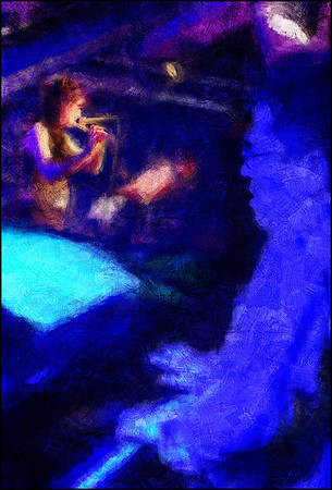 """Piano Ghost. Ricardo Fiúza: piano and Mariane Bitran: flute at <a href=""""http://www.paradisejazz.dk/""""target=""""_blank"""">Paradise Jazz</a>, Huset, Copenhagen. Composite photo painted with digital impressionist chalk brush in Corel Painter + texture layers."""