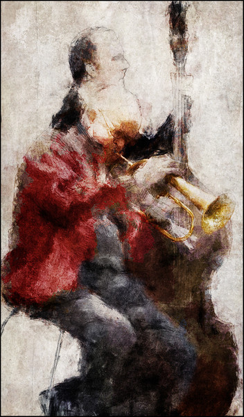Red Air.<br /> Valdemar Rasmussen: flugelhorn and Mathias Petri: bass at Cafe Mæt, Valby, Copenhagen.<br /> Photo painted with digital graphite and chalk in PostworkShop + texture layers.