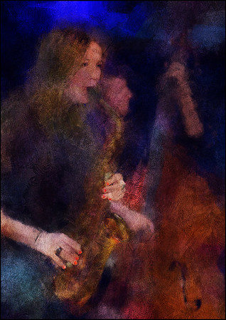 Polished Nails and Brass.<br /> Lis Kruse: sax and Jens Mikkel Madsen: bass at Paradise Jazz, Huset, Copenhagen.<br /> Photo painted with digital impressionist chalk brush in Corel Painter + texture layers.