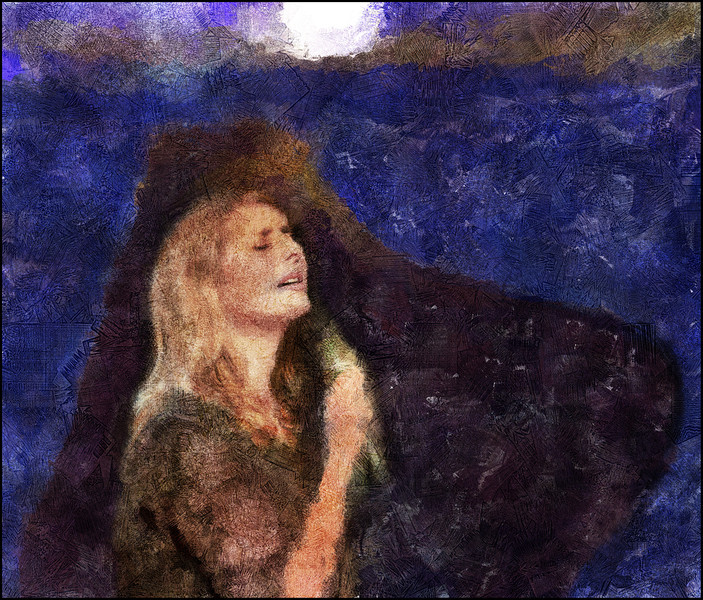 """Light to Dark to Blue.<br /> Cathrine Legardh: vocal at """"Swingin Copenhagen"""", Huset.<br /> Photo painted with digital sargent brush in Corel Painter + texture layers."""