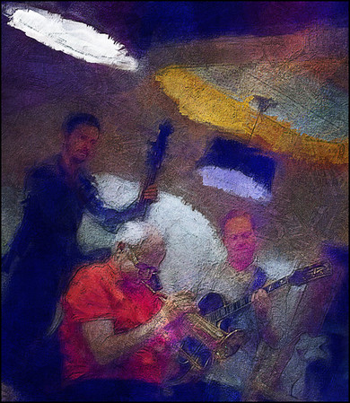 Trio Triangle.<br /> Valdemar Rasmussen: flugelhorn - Andreas Møllerhøj: bass and Mads Mathias: sax at Cafe Mæt, Copenhagen.<br /> Photo painted with digital impressionist calk brush in Corel Painter + texture layers.
