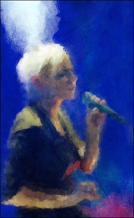 Deep - Deep Blue.<br /> Lone Selmer: vocal at Paradise Jazz Club, Copenhagen.<br /> Photo painted with digital impressionist chalk brush in Corel Painter + texture layers.
