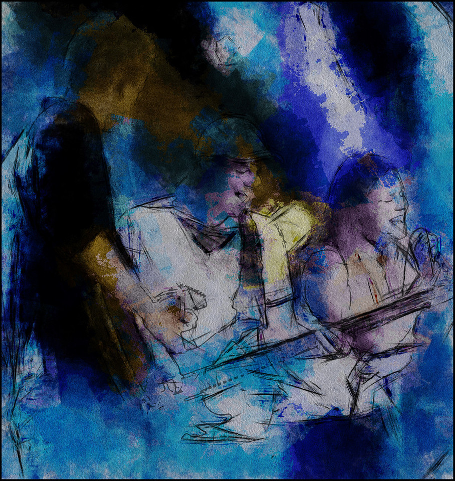 Love for Sale.<br /> Joachim Kristensen: bass and Nanne: vocal at Tapperiet, Køge, Modern Jazz Days 2013.<br /> Photo painted with digital graphite, chalk and pen in Post Workshop.