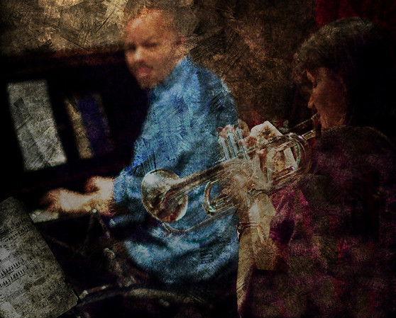 """Passing on.<br /> Piano Henrik Gunde and trumpet: Maj Berit Guassora at """"Jazz Cup"""", Copenhagen, Denmark.<br /> Two exposures layered in Photoshop with added textures."""