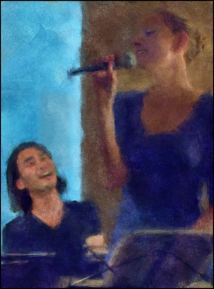 """Lady in Blue. Jacob Park: piano and Sweet Mary: vocal at <a href=""""http://www.facebook.com/pages/KIND-OF-BLUE/115173875160000""""target=""""_blank"""">Kind of Blue bar</a>, Copenhagen. Photo painted with digtal impressionist chalk brush in Corel Painter + texture layers."""
