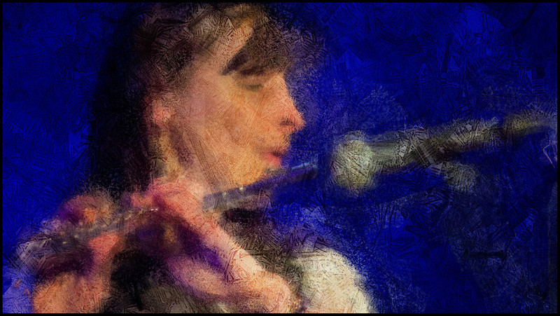"""Playing the Mic. Mariane Bitran at <a href=""""http://www.paradisejazz.dk""""target=""""_blank"""">Paradise Jazz</a>, Huset, Copenhagen. Photo painted with digital impressionist chalk brush in Corel Painter."""