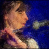 "Playing the Mic. Mariane Bitran at <a href=""http://www.paradisejazz.dk""target=""_blank"">Paradise Jazz</a>, Huset, Copenhagen. Photo painted with digital impressionist chalk brush in Corel Painter."