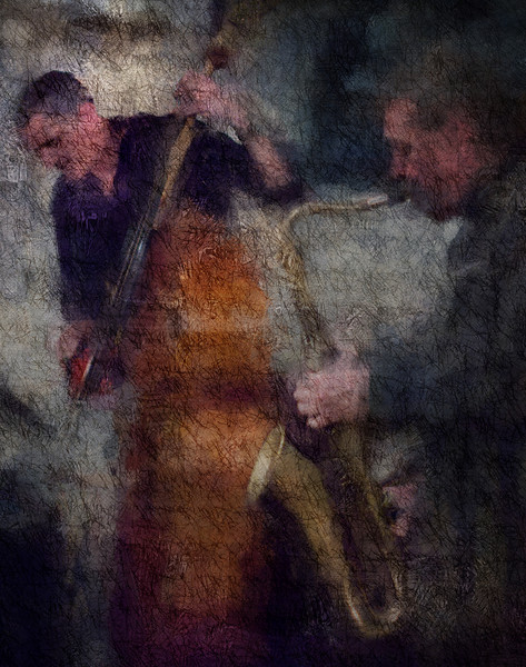 Saxing the Bass.<br /> Lennart Ginman: bass and Thomas Franck; sax at Sofiekælderen, Copenhagen.<br /> Photo painted with digital impressionist chalk brush in Corel Painter + texture layers.