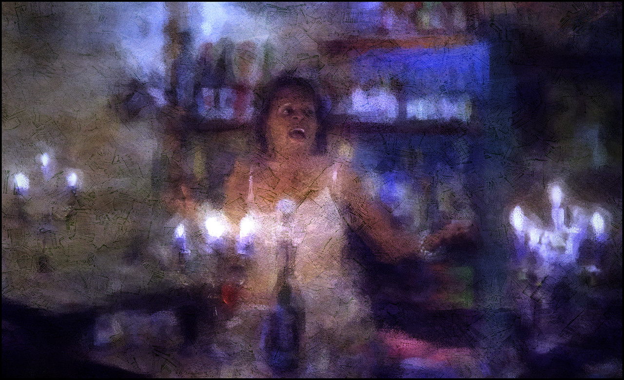 """Bar Singer. Deborah Herbert at <a href=""""http://www.facebook.com/pages/KIND-OF-BLUE/115173875160000""""target=""""_blank"""">Kind of Blue bar</a>, Copenhagen. Photo painted with digital chalk brush in Corel painter + texture layers."""
