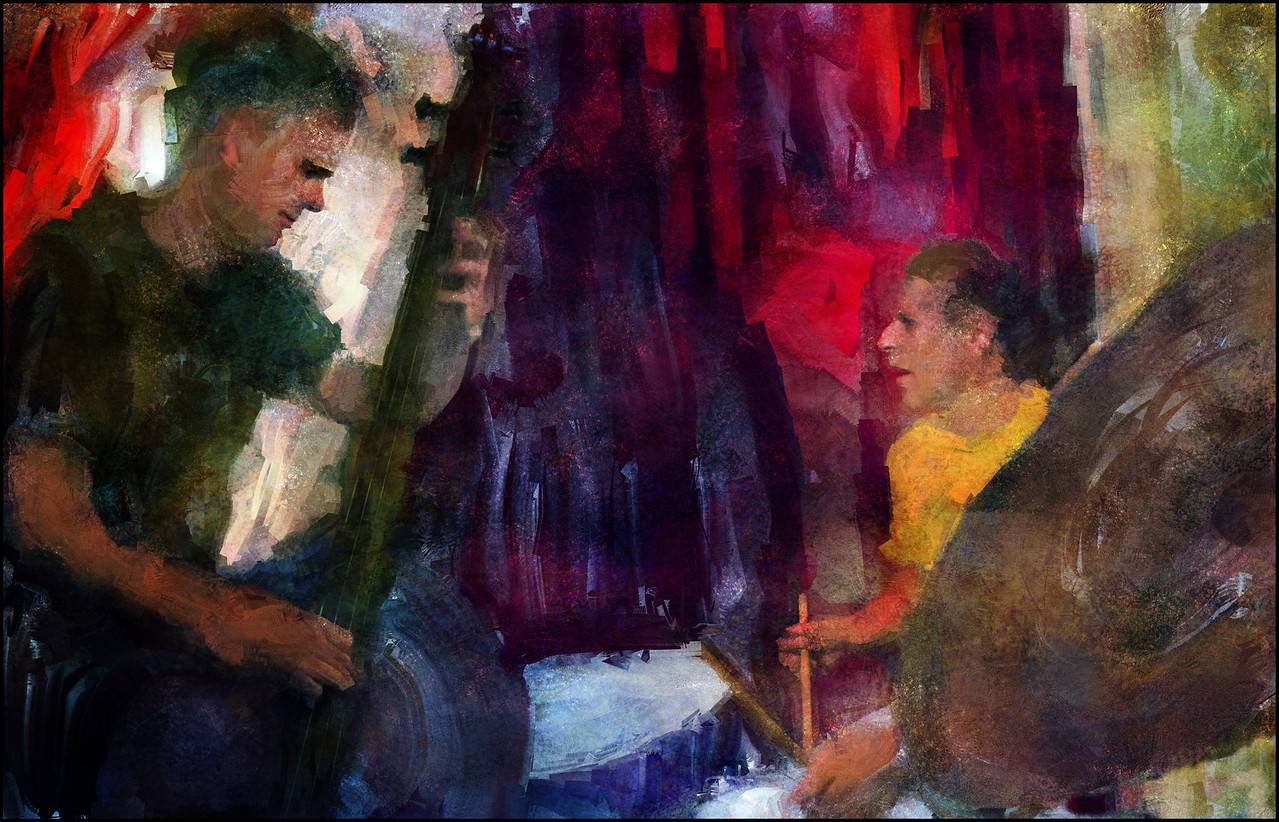 """Sticks 'n Strings. Thomas Meldgaard: bass and Eli Israel: drums at <a href=""""http://bartofcafe.dk/""""target=""""_blank"""">Bartof Cafe</a>, Copenhagen. Composite photo painted with sargent brush in Corel Painter + texture layers.."""