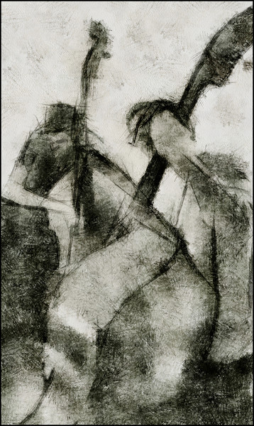 Double Bass.<br /> Thomas Morgan and Nicolaj Munch Hansen: bass at Kind of Blue, Copenhagen.<br /> Photo painted with digital chalk brush in Dynmaic Auto Painter.