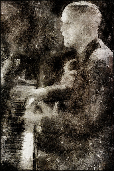 Magnus Hjort: piano at Paradise Jazz Club, Copenhagen.<br /> Photo painted with digital pencil brush in Dynamic Auto Painter + texture layer.