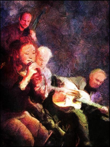 Bei Mir bist Du Schen.<br /> Esben Mylle Strandvig: guitar with guest vocal, guitar and bass at the Django Reinhard Jam in Christianshavns Beboerhus, Copenhagen.<br /> Photo painted with digital impressionist smeary brush in Corel Painter + texture layers..