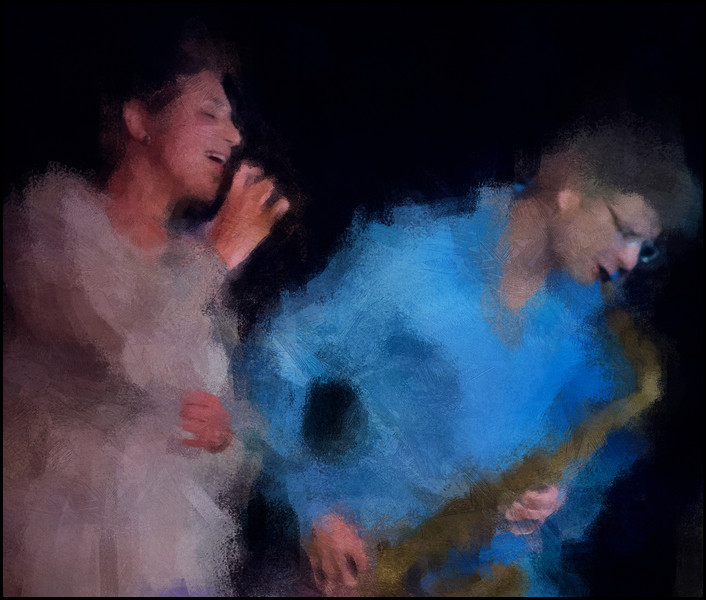 Pain and Sax.<br /> Camilla Dayyani: vocal and Emil Hess: sax at CaféScenen, Copenhagen.<br /> Photo painted with digital impressionist chal brush in Corel Painter + texture layers.