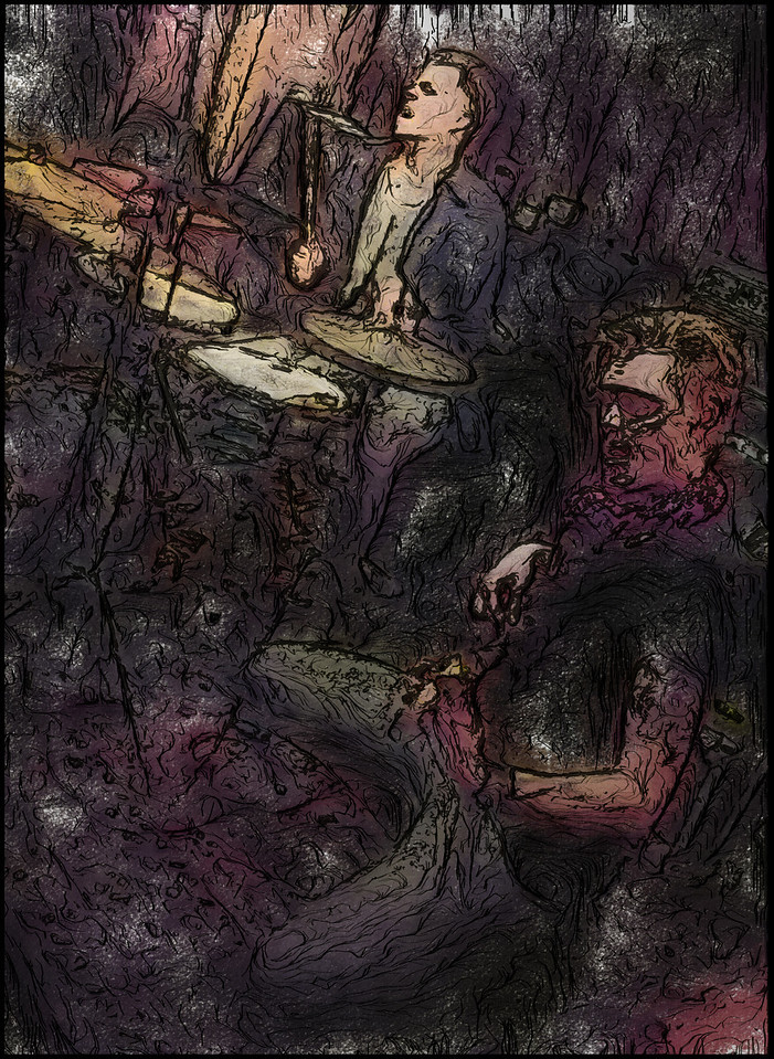 Knocking the Bass.<br /> Photo painted with digital watercolor brush + digital pen  in Corel Painter + texture layers.<br /> Marco Diallo, drums and Jakob Christensen, bass at Bartof, Copenhagen.