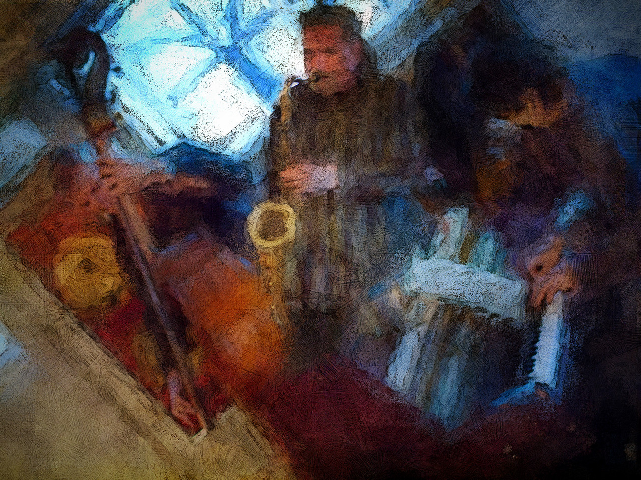 """Tilted Swing.<br /> Lennart Ginman: bass, Tomas Franck: sax and Ben Besiakov: piano at """"Sofiekælderen"""", Copenhagen,Denmark.<br /> Photo painted with digital chalk brush in Corel Painter + texture + photocopy layer."""