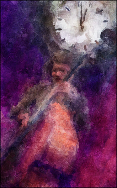 "Clock Work. Ida Hvid: bass at <a href=""http://bartofcafe.dk/""target=""_blank"">Bartof</a> Cafe , Copenhagen. Photo painted with digital impressionist sargent brush in Corel Painter + texture layers."
