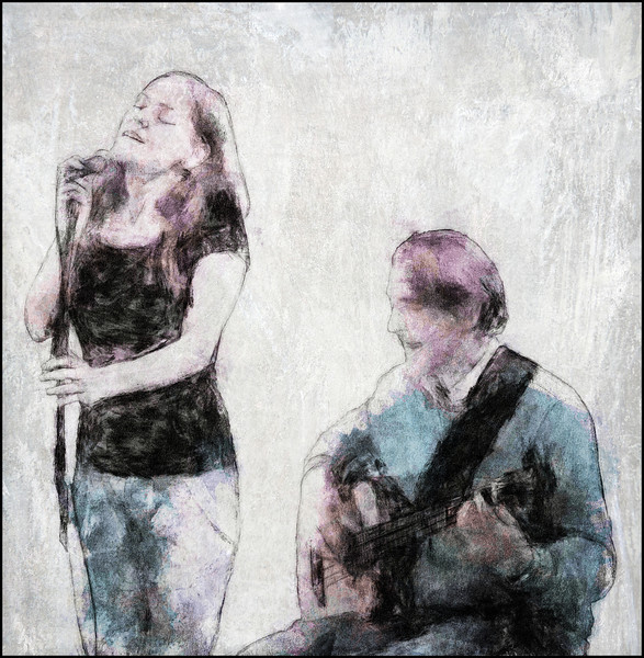 Bright and Easy.<br /> Nina Baun: vocal and Peter Danstrup: bass at Osram Huset, Copenhagen.<br /> Photo painted with digital graphite brush in PostworkShop.+ digital pencil in Dynamic Auto Painter + texture layer.