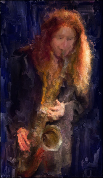 Red Head  Sax.<br /> Katrine Suwalski: sax at Paradise Jazz, Huset Copenhagen.<br /> Photo painted with digital sargent brush in Corel Painter + texture layers.