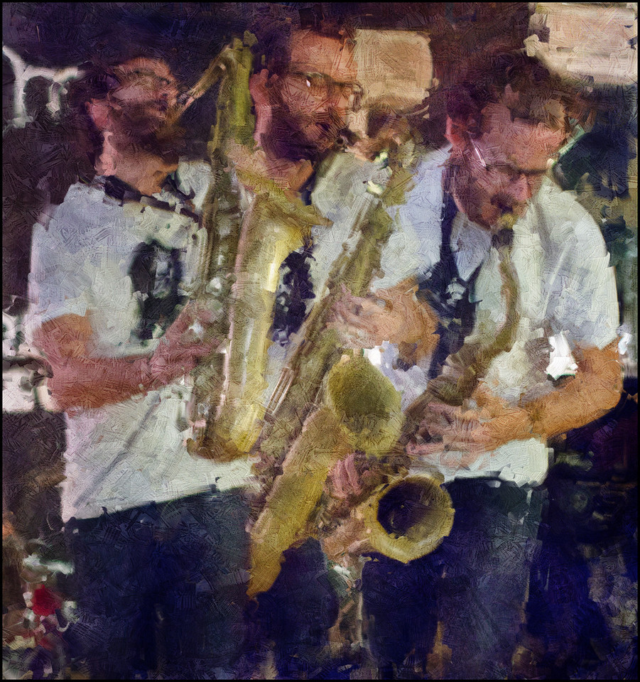 """Sax Wave. Francesco Bigoni: sax at Fisk Cafe, a <a href=""""http://barefoot-records.com/""""target=""""_blank"""">Barefoot Records</a> venue, Copenhagen. Composite photo painted with digital impressionist impasto brush in Corel Painter + texture layers."""