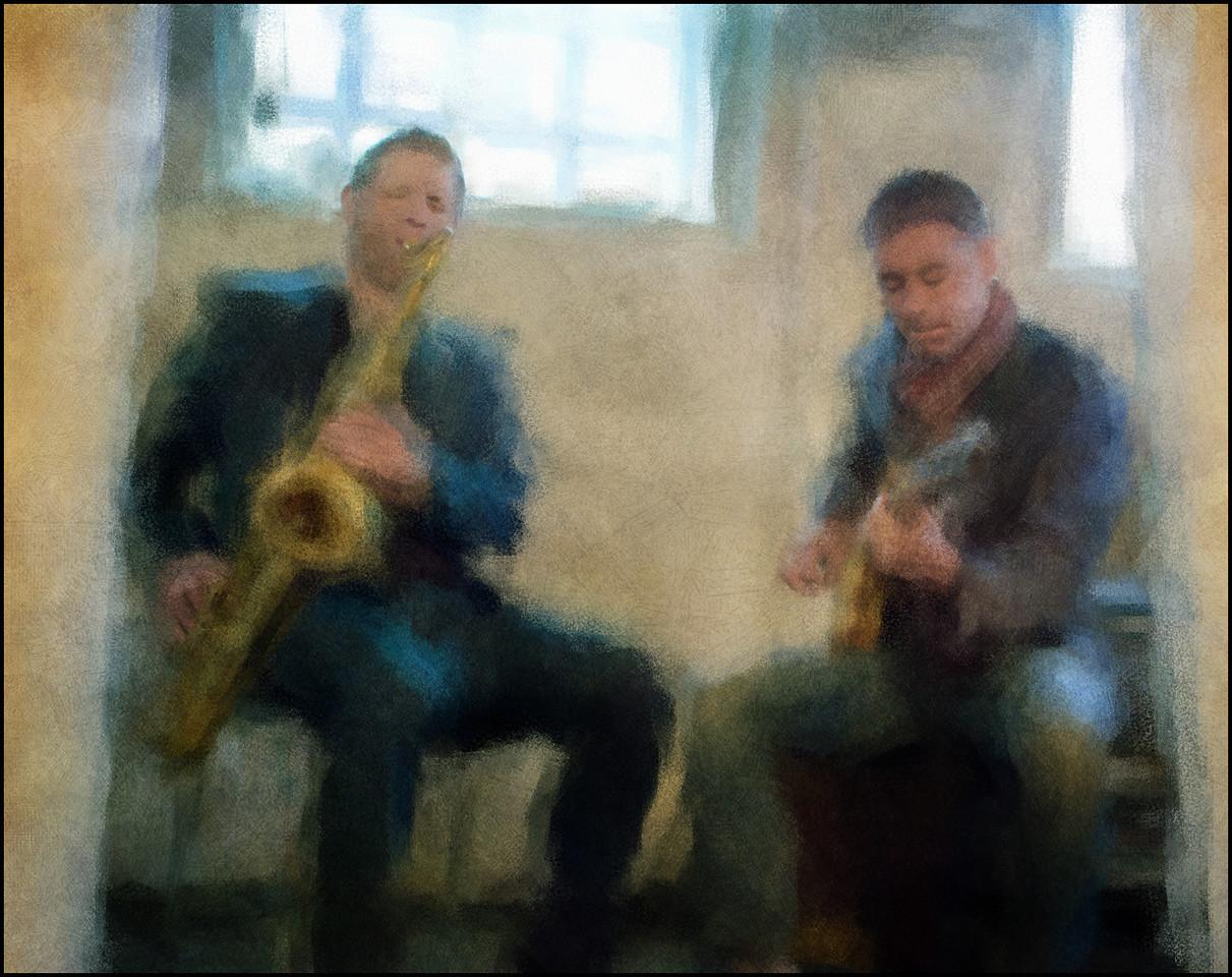 "In the Basement. Jan Harbeck: sax and Christian Frank: guitar at <a href=""http://www.sofiekaelderen.dk/""target=""_blank"">Sofiekælderen</a>, Copenhagen. Photo painted with digital chalk brush in Corel Painter + texture layers."
