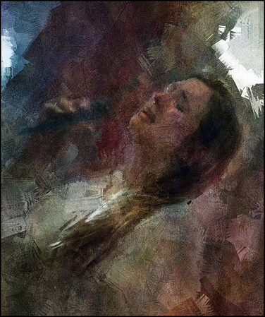 """Late Song. Kira Martini: vocal at <a href=""""http://bartofcafe.dk/""""target=""""_blank"""">Bartof</a> Cafe , Copenhagen. Photo painted with digital impressionist sargent brush in Corel Painter + texture layers."""