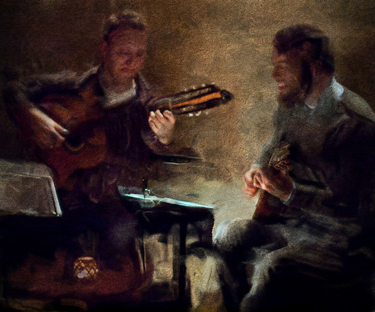 """Low Lights.<br /> Peter Lung and Andreas Hatholt of the """"Malu Prates Group"""" on guitars at """"The Fat Tuesday Bar"""", Copenhagen, Denmark.<br /> Photo painted with smeary oil brush in Corel Painter + texture layers."""