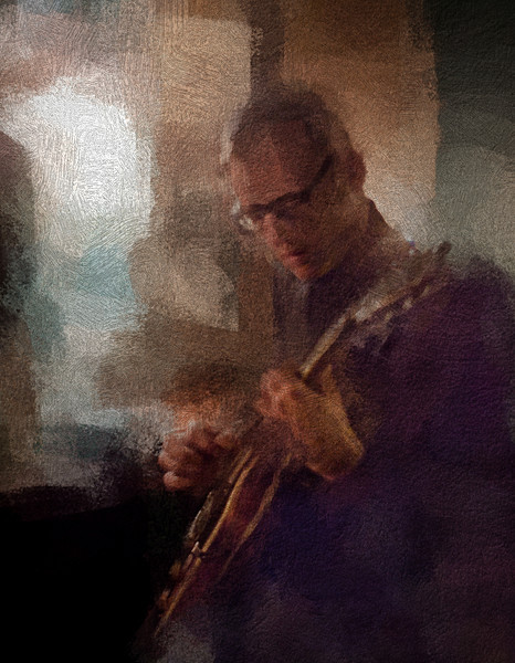 "Bar Guitar.<br /> Tao Højgaard: guitar at ""Kind of Blue Bar"", Copenhagen.<br /> Photo painted with digital impressionist chalk brush in Corel Painter + texture layers."