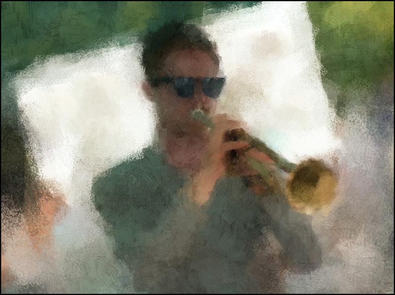 Chet Style.<br /> Rolf Thofte Sørensen: trumpet at Terroristen Vinbar during the Copenhagen 2012 Jazz Festival.<br /> Photo painted with digital impressionist chalk brush in Corel Painter + texture layers.