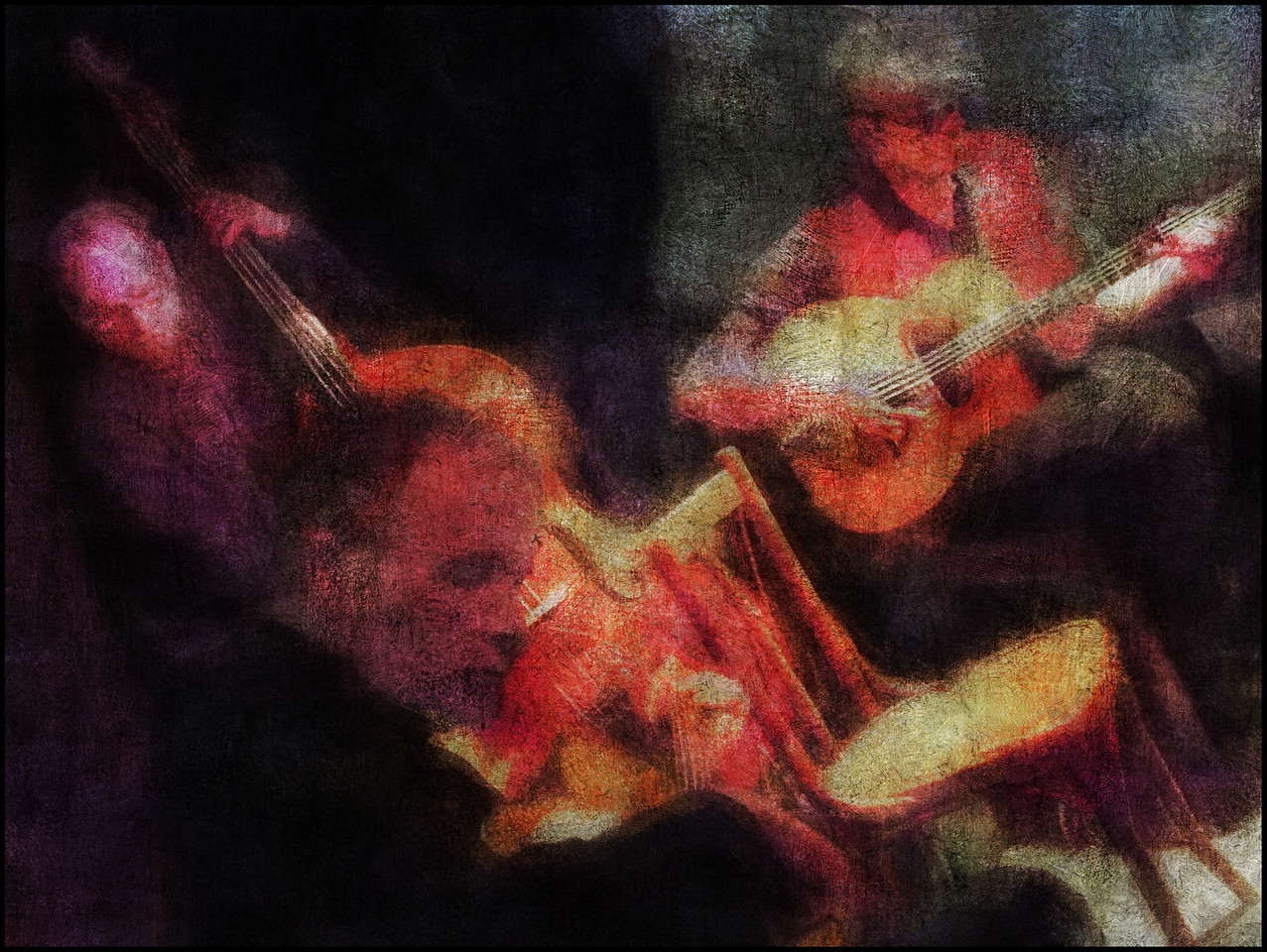Django´s Chair.<br /> Walter Clerici and Esben Mylle Strandvig: guitar with guest bass at the Django Reinhard Jam in Christianshavns Beboerhus, Copenhagen.<br /> Photo painted with digital impressionist smeary oil brush in Corel Painter + texture layers..