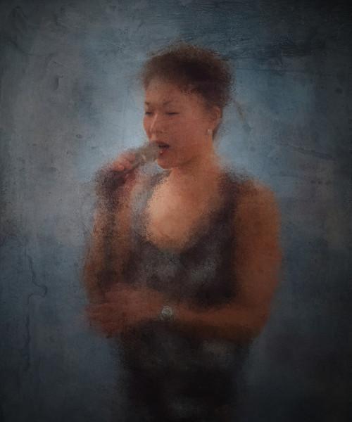 In Blue.<br /> Birgitte Sojin: vocal at PH Cafeen, Copenhagen.<br /> Photo painted with digital impressionist sponge brush in Corel Painter.
