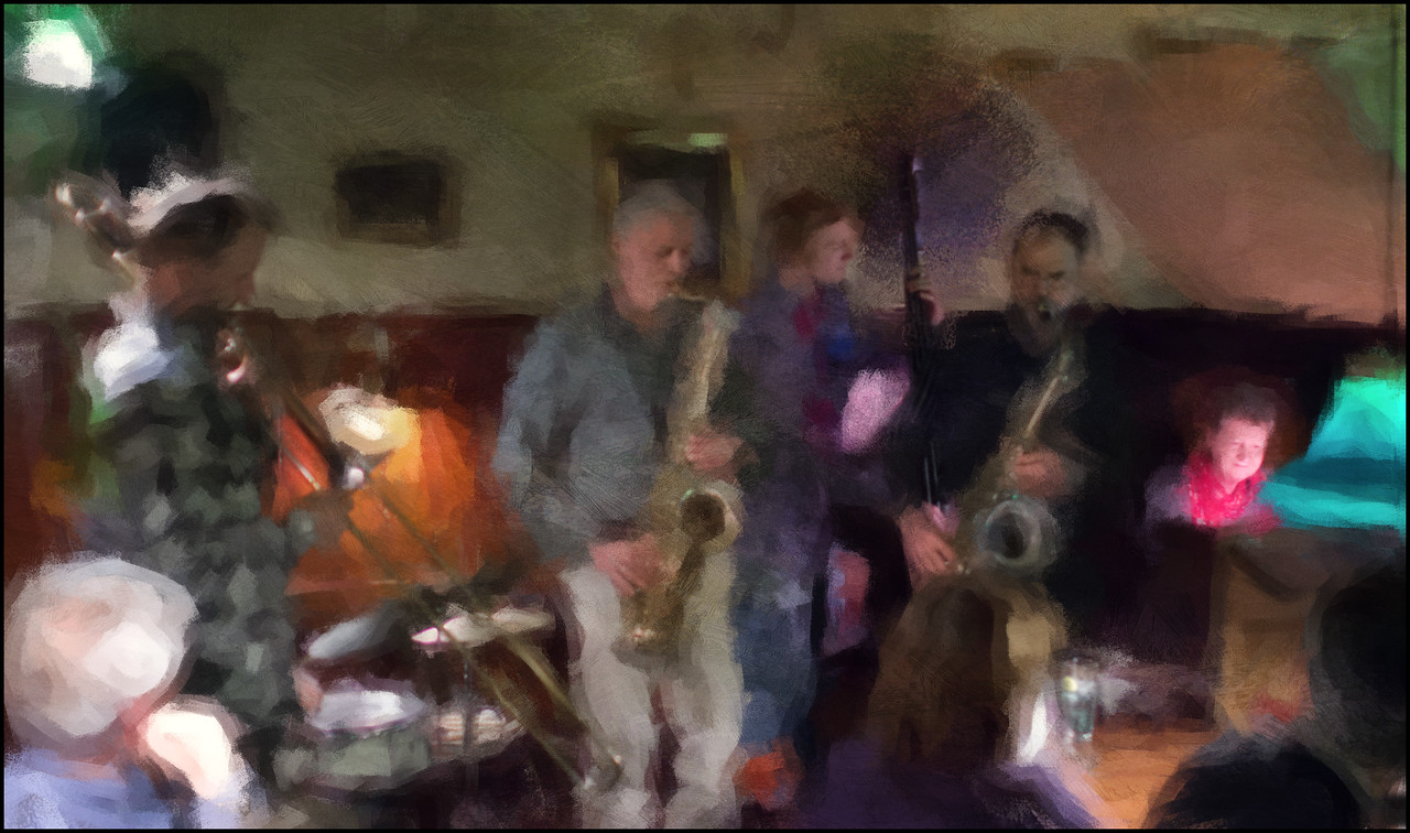 Sunday Afternoon.<br /> Open session at Hvide Lam, Copenhagen.<br /> Photo painted with digital impressionist chalk brush in Corel Painter + texture layer.