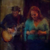 Fading Out.<br /> Marie Ingerslev: vocal and Jeppe Holst: guitar at Cafe Bartof, Copenhagen.<br /> Photo painted with digital chalk brush in Corel Painter + texture layers.