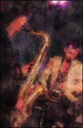 Sax Doublet.<br /> Photo painted with digital chalk brush in Corel Painter + texture layers.<br /> Jakob Dinesen and Laust Sonne, sax at WrayClub, Copenhagen.