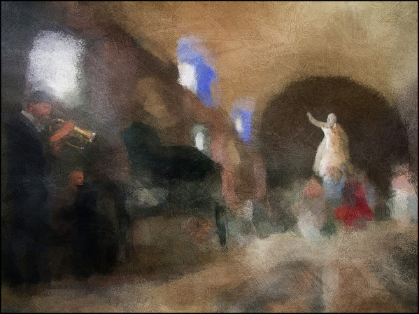 Reveille.<br /> Mads la Cour: trumpet and Magnus Hjort: piano at Thorvaldsens Museum during the Copenhagen 2012 Jazz festival.<br /> Photo painted with digital impressionist chalk brush in Corel Painter + texture layers.