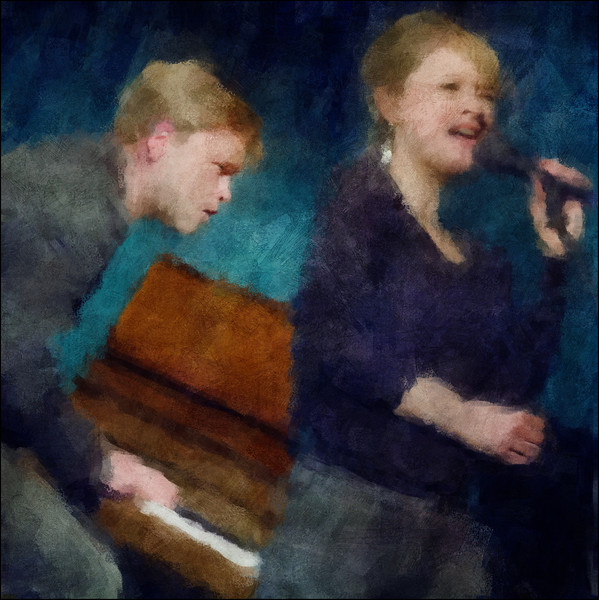 For the Piano.<br /> Heine Hansen: piano and Mette Juul: vocal at Jazzhouse, Copenhagen.<br /> Composite photo painted with digital impressionist chalk in Corel Painter + texture layers.
