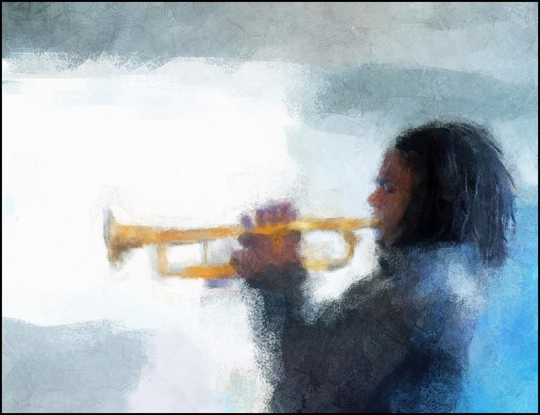Gloving Trumpet.<br /> Yulliesky Gonzales: trumpet at Sofiekælderen during the Copenhagen 2012 Jazz festival.<br /> Photo painted with digital impressionist chalk brush + texture layers.