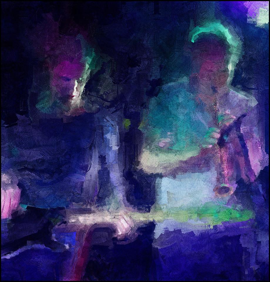 Side Ways.<br /> Kristor Brøndsgaard: bass and Rasmus Kjærsgaard: sax at Kulturhuset Islands Brygge, Copenhagen.<br /> Photo painted with impressionist digital sargent brush in Corel Painter + texture layers.