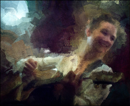 "Straight Light. Kira Martini: vocal and guitar at <a href=""http://bartofcafe.dk/""target=""_blank"">Bartof</a> Cafe , Copenhagen. Photo painted with digital impressionist sargent brush in Corel Painter + texture layers."