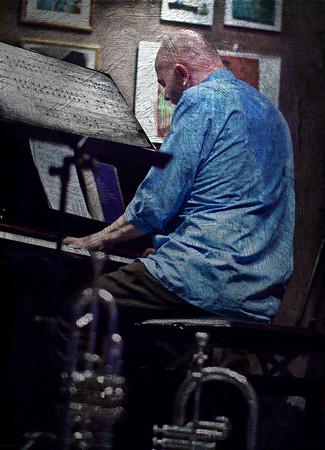 "Mr. Blue.<br /> Piano: Henrik Gunde at ""Jazz Cup"", Copenhagen, Denmark.<br /> Photo with added texture layer in Photoshop."