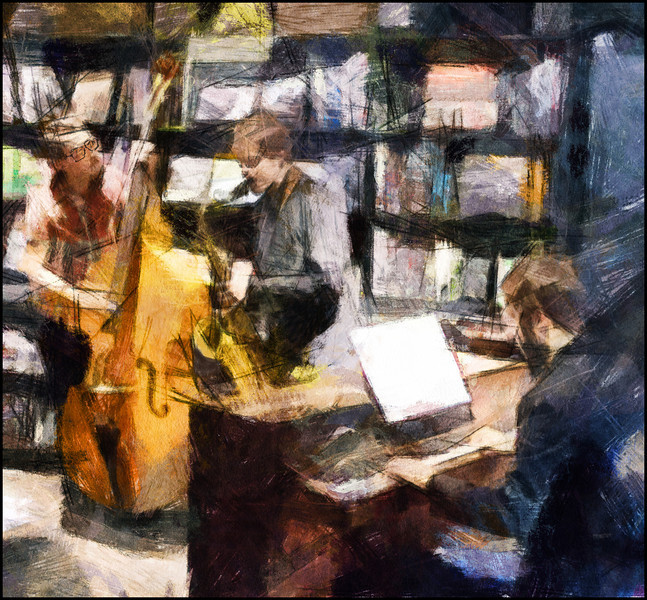 Joel Illerhag: bass - Lubos Soukup: sax and Christian Pabst: piano at Tranquebar bookstore, Copenhagen.<br /> Photo painted with digital pen brush in Dynamic Auto Painter.