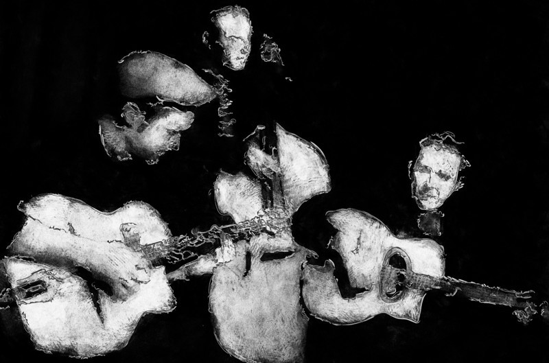 Strings.<br /> Biel Ballester and Walter Clerici: guitars playing Django at Christianshavns Beboerhus, Copenhagen.<br /> Photo painted with digital grapite pen and white chalk in PostworkShop.