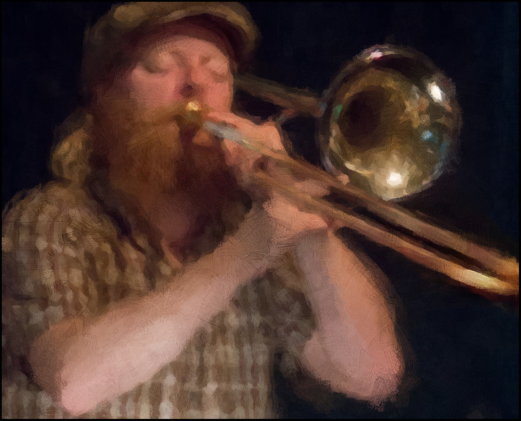 Cap and Bone.<br /> Mads Hyhme: trombone at JazzHouse, Copenhagen.<br /> Photo painted with digital impressionist chalk brush in Corel Painter + texture layer