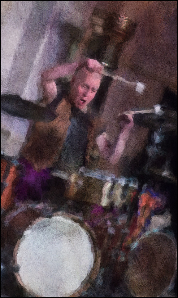 Punch King.<br /> Bob Moses: drums at Litteraturhaus, Copenhagen.<br /> Photo painted with digital impressionist chalk brush in Corel Painter + texture layers.