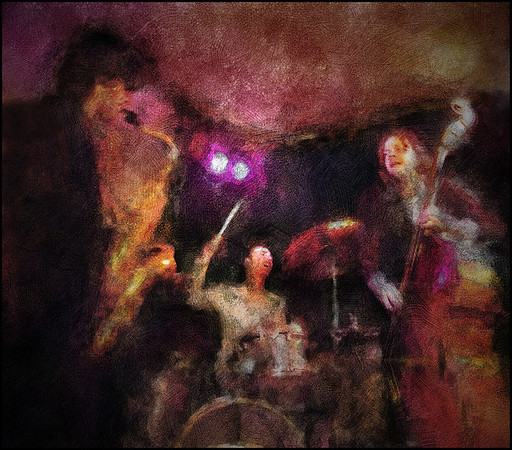 Cool Cole.<br /> Jakob Dinesen, sax,Laust Sonne, drums and Daniel Franck, bass playing Ornete Coleman at WrayClub, Copenhagen.<br /> Photo painted with digital chalk brush in Corel Painter + texture layers.