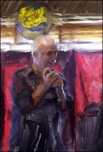 Shine On.<br /> Finn Poulsen: mouth harp of Rêve Bohème at Bartof Cafe, Copenhagen.<br /> Photo painted with digital sargent brush in Corel Painter.