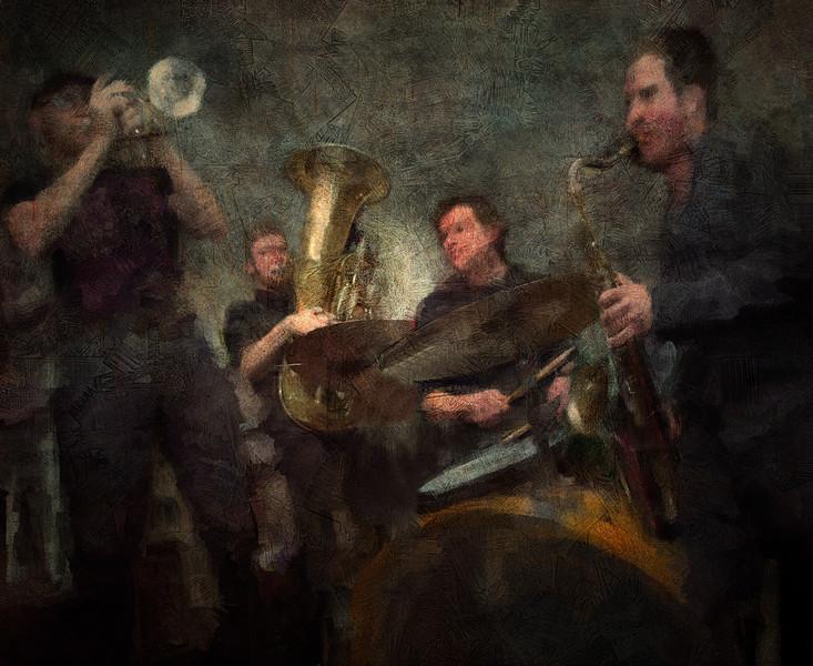 "At play.<br /> Lakris Band: Rasmus ""Termo"" Lundsgaard: trumpet - Nikolaj Thyssen Dam: tuba - Mads Thorbjørn Jensen: drums - Kalle Krüger: sax at Ingolfs Kaffebar Copenhagen.<br /> Photo painted with digital chalk brush in Corel Painter + texture layer."