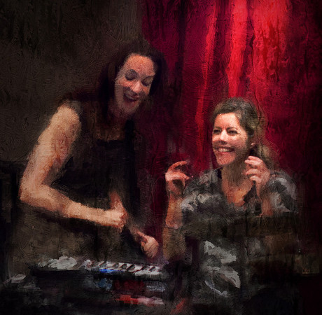 Swing Sisters.<br /> Susi Hyldgaard: vocal, keyboard and Benita Haastrup: percussion at Jazz Cup, Copenhagen, Denmark.<br /> Photo painted with digital impressionist chalk brush in Corel Painter + texture layers.